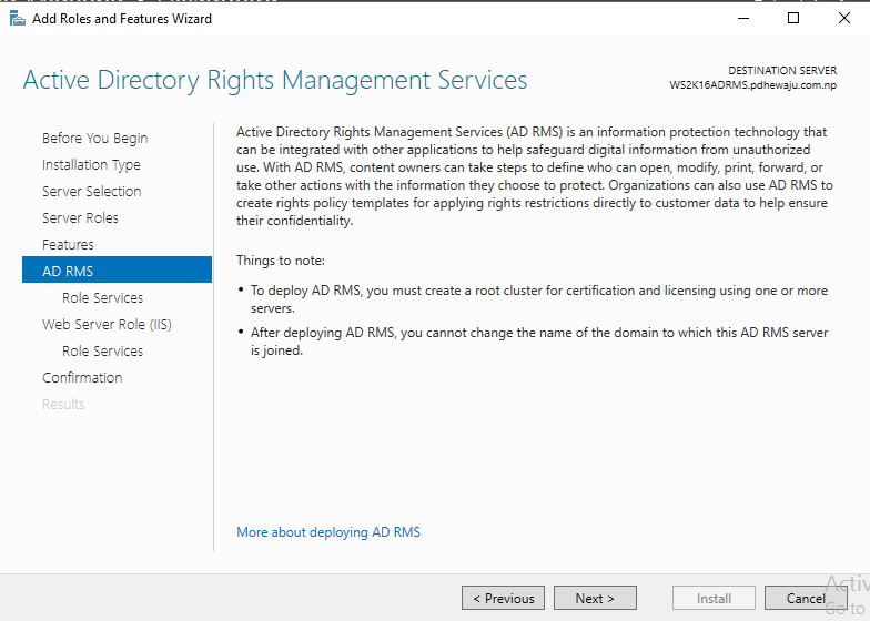 in active directory rights management services screen you will see the description of ad rms so click on next